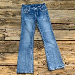 Girls Medium Wash Flare Leg Jeans Size 10